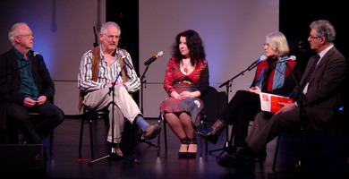 Louis Andriessen, Kyle Gann, Agata Zubel, and Janice Giteck, (l to r) join Charles Amirkhanian for the first panel discussion during OM 16