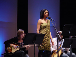 Mary Halvorson, Alicia Hall Moran, and Tarus Mateen (l to r) performing at OM 16