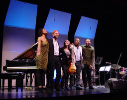 "Alicia Hall Moran, Jason Moran, Mary Halvorson, Tarus Mateen, and Nasheet Waits after performing ""Slang"" at OM 16"