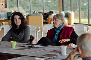 Agata Zubel (l to r) and Janice Giteck at the Djerassi Resident Artists Program in Woodside, CA