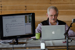 Kyle Gann during his presentation at the Djerassi Resident Artists Program prior to OM 16