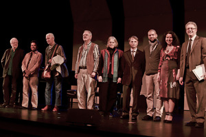 OM 16 Composers (l to r) Louis Andriessen, I Wayan Balawan, Han Bennink, Kyle Gann, Janice Giteck, David Jaffe, Jason Moran, and Agata Zubel, with their host, Charles Amirkhanian