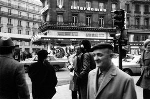 Bernard Heidsieck (center) being interviewed on the streets of Paris France by Charles Amirkhanian