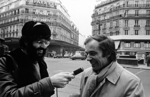 Charles Amirkhanian (left) interviews sound poet Bernard Heidsieck, Paris, France