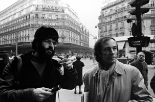 Charles Amirkhanian (left) points something out to Bernard Heidsieck, Paris, France