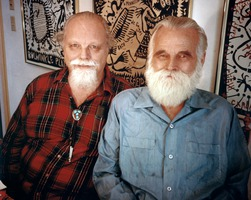 Lou Harrison (left) and his partner William Colvig, at their home in Aptos CA