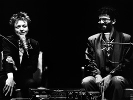 Laurie Anderson (left) and Charles Amirkhanian during their appearance at the Palace of Fine Arts Theater, San Francisco CA.