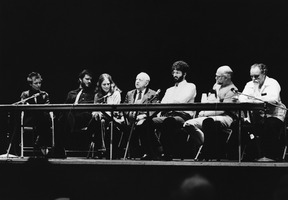 Laurie Anderson, Garrett List, Laurie Spiegel, Virgil Thomson, Charles Amirkhanian, Erik Stokes, and Lou Harrison (l to r), during the 1979 Cabrillo Music Festival