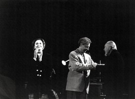 Luc Ferrari (center) and Conlon Nancarrow (right) taken during a week of concerts in Nancarrow's honor