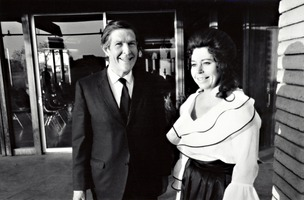 John Cage (left) and Pat Woodbury at Putah Creek Lodge