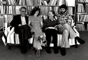 Objectivist poet George Oppen with Carol Law, Mary Oppen, & Charles Amirkhanian (l to r)