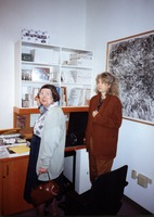 Eleanor Amirkhanian (left) with Carol Law, in the offices of KPFA-FM, in Berkeley CA.