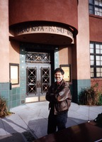 Charles Amirkhanian in front of the KPFA building, Berkeley CA.