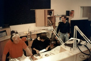 Opal Nations (left) producing one of his music shows at KPFA