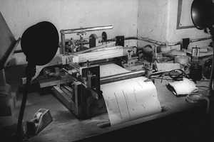 Conlon Nancarrow's studio, and the machinery used to create his piano rolls