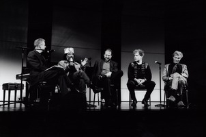 Charles Amirkhanian hosts a panel discussion with Ishmael Wadada Leo Smith, Dan Becker, Michael Bach, and Åke Parmerud (l to r) during OM 13