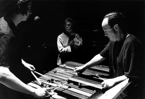 Ches Smith, Annea Lockwood, and William Winant (l to r), during a rehearsal for OM 8