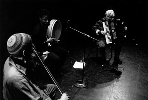 India Cooke, Karolyn van Putten, & Pauline Oliveros (l to r), performing as the Circle Trio during OM 8