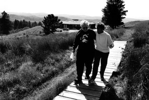 Pauline Oliveros & Tania León (l to r), taking a stroll during their retreat at the Djerassi Resident Artists Program in Woodside, CA