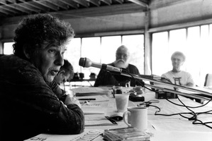 Richard Teitelbaum, Charles Amirkhanian, Lou Harrison, and Annea Lockwood (l to r) during their retreat at the Djerassi Resident Artists Program in Woodside CA
