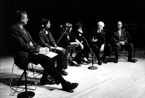 Charles Amirkhanian, Kim Kashkashian, Hanna Kulenty, Hamlet Sarkissian, Tigran Mansurian and Jon Raskin (l to r), during a panel discussion prior to a concert at OM 10