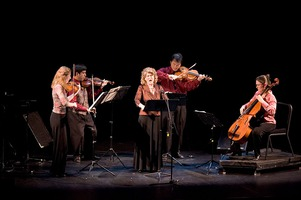 The Del Sol Quartet with soprano Cheryl Keller, perform on stage during OM 11