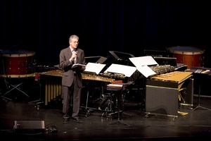 Charles Amirkhanian making announcements prior to the third concert of OM 11