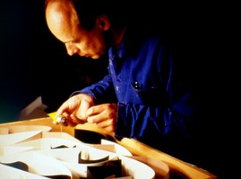 Brian Eno working at the Exploratorium during one of his installations in February, 1988