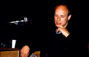 Brian Eno during one of the Speaking of Music sessions held at San Francisco's Exploratorium, February, 1988