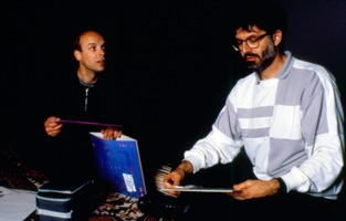 Brian Eno and Charles Amirkhanian during one of the Speaking of Music sessions held at San Francisco's Exploratorium, February, 1988