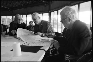 Janice Giteck, Kyle Gann, and Louis Andriessen (l to r) during the Djerassi Resident Artists program prior to OM 16
