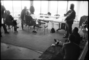 I Wayan Balawan giving his presentation to other OM 16 composers during the Djerassi Resident Artists program