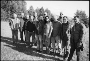 OM 16 composers with Djerassi and Other Minds Directors: (l to r) Dale Djerassi, Charles Amirkhanian (OM Executive & Artistic Director), Janice Giteck, David Jaffe, Jason Moran, I Wayan Balawan, Kyle Gann, Agata Zubel, Louis Andriessen, JIm Newman (OM Founder), Han Bennink, I Nyoman Suwida, and I Nyoman Suarsana