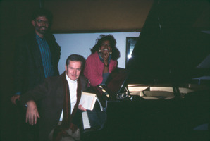 LaFleur Paysour, Ned Rorem and Charles Amirkhanian (l to r) in the KPFA studios.