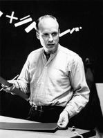 Brian Eno at the Exploratorium during one of his installations and appearances in the Speaking of Music series held in February, 1988