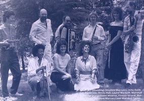 Relàche, The Ensemble for Contemporary Music (from the New Music America 1987 printed program). l to r (top): Stephen Marcucci, John Dulik, Guy Klucevsek, Wesly Hall, Laurel Wyckoff, Marshall Taylor. l to r (kneeling): Diane Monroe, Flossie Ierardi, Barbara Noska.