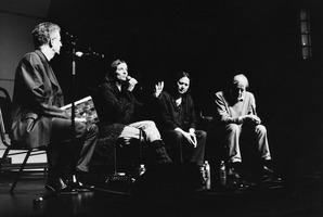 Charles Amirkhanian moderates a panel discussion with Maja Ratkje, Joëlle Leandre, and Per Nørgård (l to r)