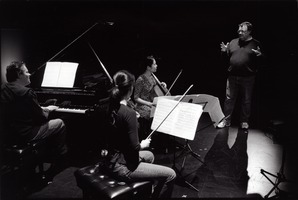 The members of Trio con Brio Copenhagen, listen to composer Bent Sørensen, during a rehearsal for OM 14.