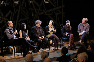 Kathy Hinde discussing her work as an audiovisual artist. Panel discussion before the first concert of Other Minds 20; (l to r) Charles Amirkhanian, Miya Masaoka, David Tanenbaum, Kathy Hinde, Maja Ratkje, Frode Haltli.