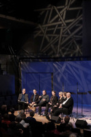 Auditorium in SFJAZZ during the first panel discussion for OM 21. (l to r) Charles Amirkhanian, Michael Gordon, Phil Kline, Cecilie Ore, Bibbi Moslet, Lasse Thoresen, and Gavin Bryars.