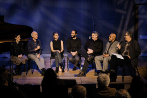 (l to r) Meredith Monk, John Oswald, Nicole Lizée, Elliot Simpson, Larry Ploansky, Oliver Lake, and Charles Amirkhanian during the second panel discussion of OM 21