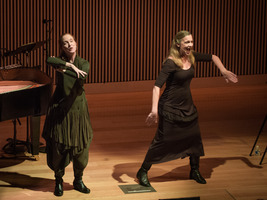 Allison Sniffin and Katie Geissinger performing one of Meredith Monk's works during the third concert of OM 21