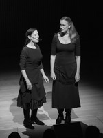 Meredith Monk and Katie Geissinger performing vocal duets during the third concert of OM 21