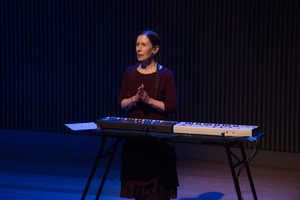 Meredith Monk before performing Scared Song during the third concert of OM 21