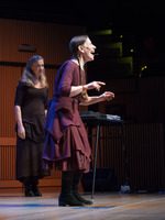 Meredith Monk (with Katie Geissinger on left) performing during the third concert of OM 21