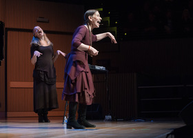 (l to r) Katie Geissinger and Meredith Monk performing during the third concert of OM 21