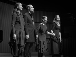 (l to r) Allison Sniffin, Bohdan Hilash, Meredith Monk, and Katie Geissinger after performances in the third and final concert of OM 21