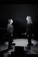 (l to r) Meredith Monk and Katie Geissinger rehearsing before the third concert of OM 21