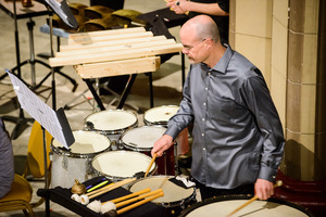 Loren Mach in the William Winant Percussion Group performing Lou Harrison's Canticle No. 3 during OM 22.