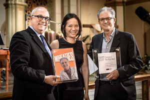 (l to r) John Nuechterlein, President of the American Composers Forum and composer Vivian Fung (ACF Board member) present Other Minds' Executive and Artistic Director, Charles Amirkhanian with his Champion of New Music awards.